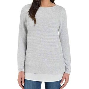 HILARY RADLEY 2fer Light Gray Long-sleeve Sweater